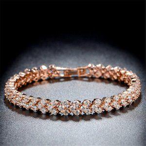 Rose Gold Tennis Bracelet White Topaz Stones